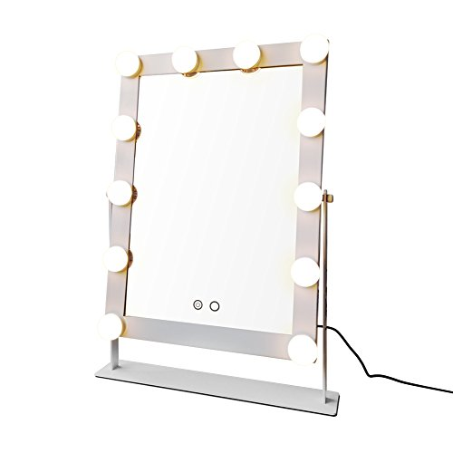 Geek-House Tabletops Lighted Vanity Mirror with 12 x 3W Dimmable LED Bulbs and Touch Control Design, Hollywood Style Makeup Cosmetic Mirrors with Lights White by GeekHouse (Image #2)
