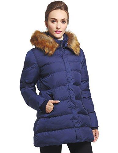 D'hiver Avec Wenven Foncé Capuche À Matelassé Bleu Manteau Femme Blouson Fourrure wqwYSp