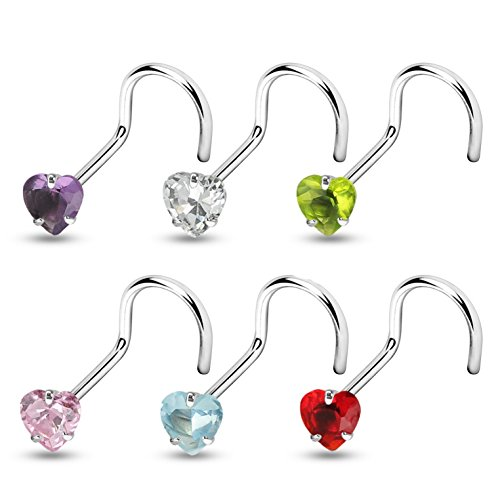 6-Color Set CZ Heart Top Steel Nose Ring Screw Piercings (20 Gauge (0.8mm)) (Ring Gem Nose Red)