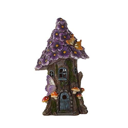 Ivy Home Purple Miniature Fairy House Garden Flower Solar Powered Garden Statue House