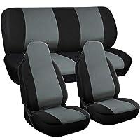 Motorup America Auto Seat Cover Full Set - Fits Select Vehicles Car Truck Van SUV - Gray and Black