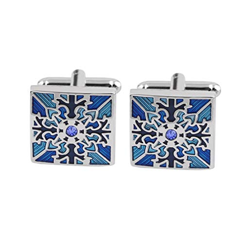Personalized 2019 New Snowflake Blue Crystal Cufflinks for Mens Hand Carved Luxury Cufflink Wedding Gifts for Men Come with Black Elegant Jewelry Box (A)