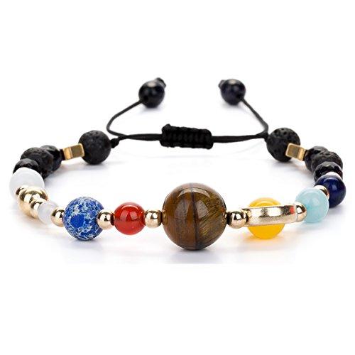 Joya Gift Adjustable Guardian Bracelet Beaded Gemstone Solar System The Nine Planets Stone Bracelet for Women Men