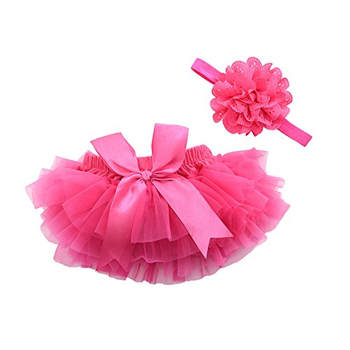 muyan Girls Cotton Tulle Ruffle with Bow Baby Bloomer Diaper Cover and Headband Set (Rose Red, M(6Month-12Month))