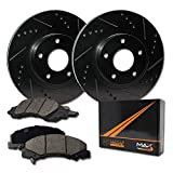 Max Brakes Front Elite Brake Kit [ E-Coated Slotted Drilled Rotors + Ceramic Pads ] KT004881 Fits: Honda 03-12 Accord Coupe & Accord Sedan LX 13-15 Civic EX 03-11 Element 02-04 CRV