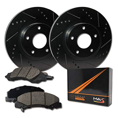 Max Brakes Front Elite Brake Kit [ E-Coated Slotted Drilled Rotors + Ceramic Pads ] KT003581 Fits: 1993-1997 Corolla | Prizm