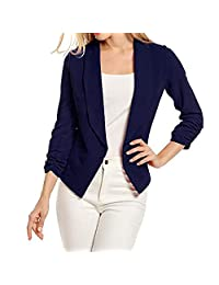 Women's 3/4 Sleeve Casual Work Solid Color Blazer Draped Lapel Open Front Jacket Suit