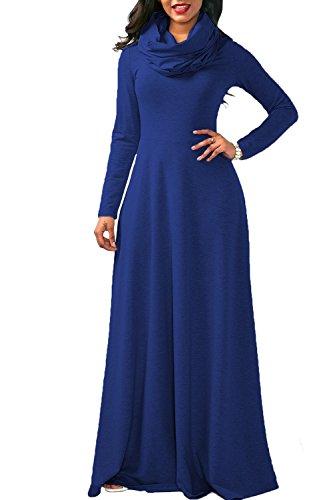 YACUN La Mujer Casual Manga Larga Cowl Neck Long Maxi Vestido Invierno Swing Blue