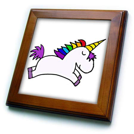 (3dRose All Smiles Art - Unicorns and Dragons - Funny Cute White Magical Flying Unicorn with Rainbow Mane - 8x8 Framed Tile (ft_317698_1))