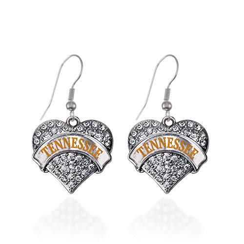 Tennessee Heart Charm - Inspired Silver - Tennessee Charm Earrings for Women - Silver Pave Heart Charm French Hook Drop Earrings with Cubic Zirconia Jewelry
