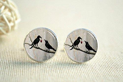 Bird Cufflinks, Love Birds on Branch Cuff Links, Love Heart, Men's Wedding Cufflinks