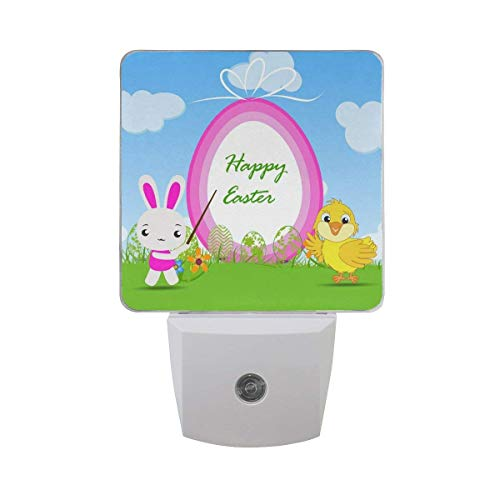 xiaodengyeluwd 2 Pack Happy Easter Cute Bunny Chick Easter Egg Decorative Green Grass Blue Sky White Cloud Auto Sensor LED Dusk to Dawn Night Light Plug in Indoor for Adults ()