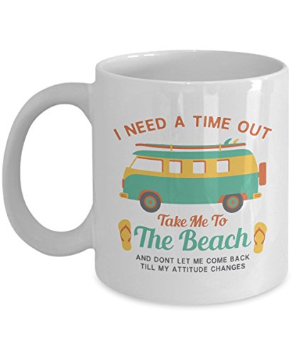 Take Me To The Beach Quote Art Featuring Vintage Graphic Surf Van Coffee & Tea Gift Mug For A Beach Bum, Ocean Lover, Traveler, Surfer & Boat Owner ()