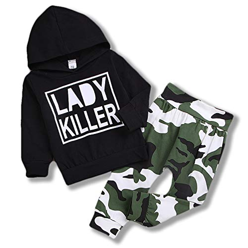 Sinhoon Baby St. Patrick's Day Outfit Long Sleeve Lady Killer Letter Printed Top Hoodie Camouflage Pants Outfits Set (Black, 70(0-6M))