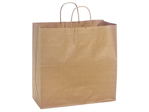 Pack Of 250, Filly 13 X 7 X 13'' Solid Natural Brown Kraft Paper Shopping Bags W/Serrated Edge Tops & Sturdy Paper Twisted Handles Made In USA