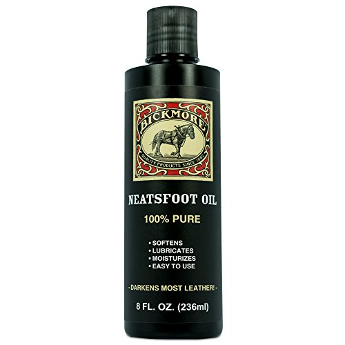 Bickmore 100% Pure Neatsfoot Oil 8 oz - Leather Conditioner and Wood Finish - Works Great on Leather Boots, Shoes, Baseball Gloves, Saddles, Harnesses & Other Horse - Mitten 100 Percent