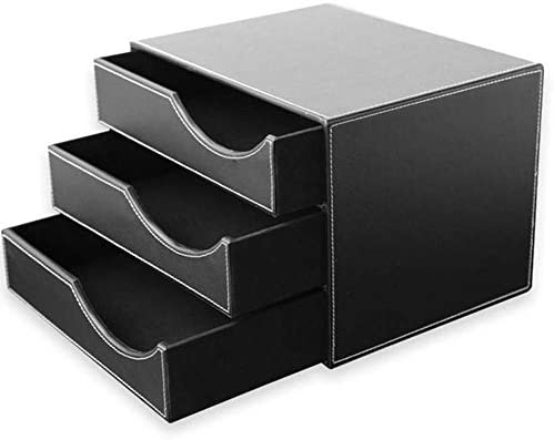 AGWa Ablagefächer Dokumentenablage Holzstruktur Leder Schubladenbox A4 Aktenordner Sortierfach mit 3 geschlossenen Schubladen Büro und Schule (schwarz), schwarz, 32,5 * 25,5 * 23,5 cm