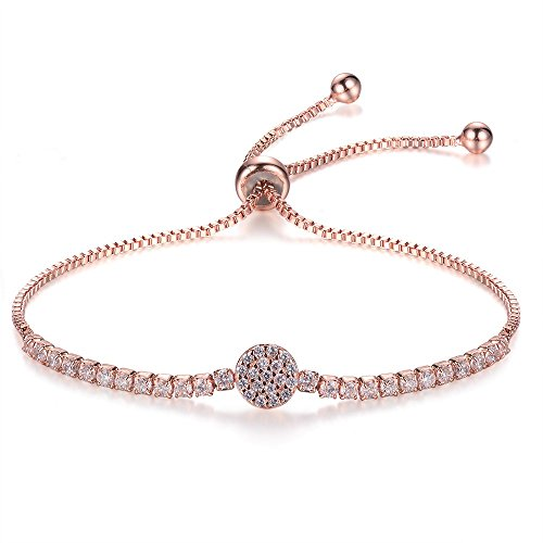 (espere Micropave Disc Bolo Bracelet Adjustable 10 Inch 14K Rose Gold Plating)