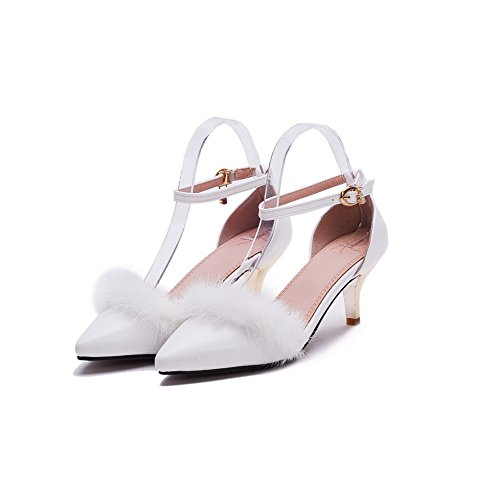 Allhqfashion Womens Pointed Closed Toe Kitten Hakken Solid Gesp Pumps Shoes White