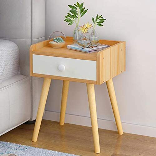 "KTOL Sofa Side End Table Nightstand with 4 Table Legs, Nordic Mini Bedside Table 17.3"" Storage Shelf with Drawer Cabinet MDF Easy Assembly Bedside Furniture Bedroom Accessories Accent Table"