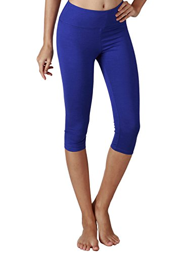 Yoga Reflex Women's Tummy Control Active Tights Yoga Running Leggings Capris , Royalblue , Large