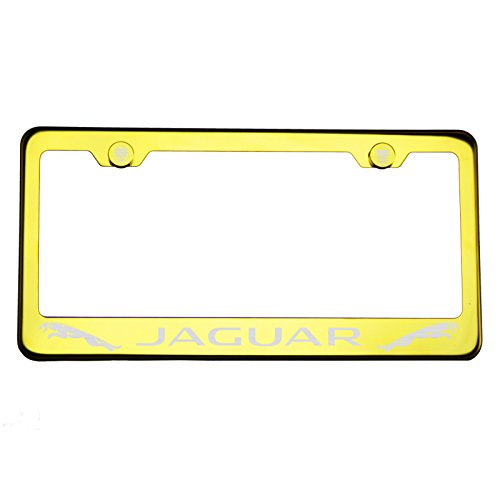 One Gold Chrome Stainless Steel License Plate Frame Holder Front Or Rear Bracket Laser Engrave Jaguar with Logo Aluminum Screw Cap by Circle Cool