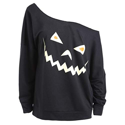 Clearance Womens Halloween Long Sleeve Ghost Print Sweatshirt - vermers Women Casual Loose Pullover Tops Blouse(XL, z01)