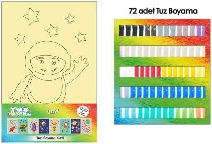 Tuz Boyama Uzay Seti 8 Adet Kart 72 Adet Renkli Tuz Kum Boyama
