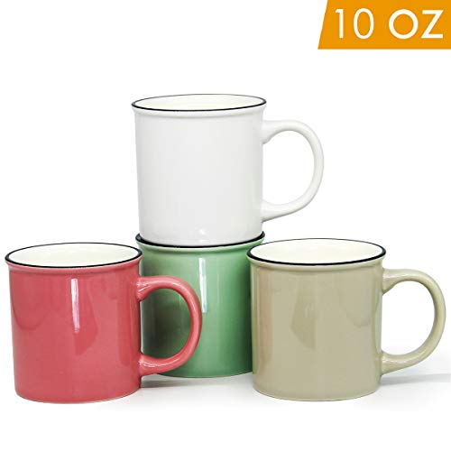 Solid 10 Oz Ceramic Mug - 10 OZ Enamel Coffee Mugs, Smilatte M103 Bright Colors Ceramic Cup with Hanlde for Home Use Office Party or Camping, Set of 4, Multi-Color