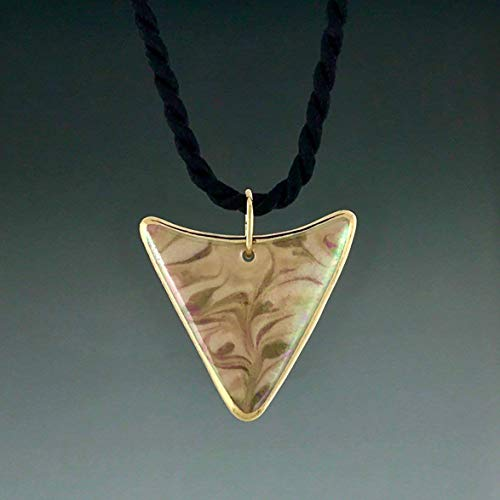 Triangle arrowhead shape earth tone brown porcelain pendant with 22K gold trim ()