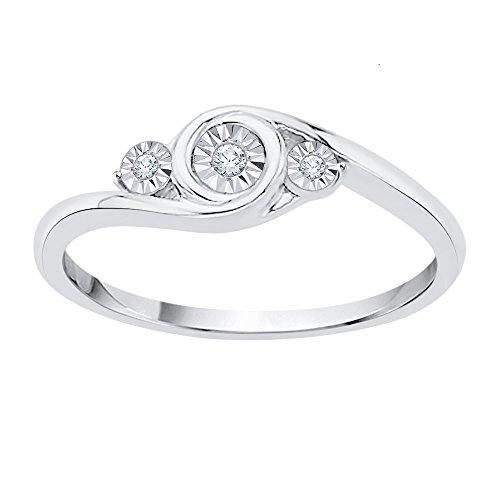 1//20 cttw, 3 Diamond Promise Ring in Sterling Silver G-H,I2-I3 Size-11.75