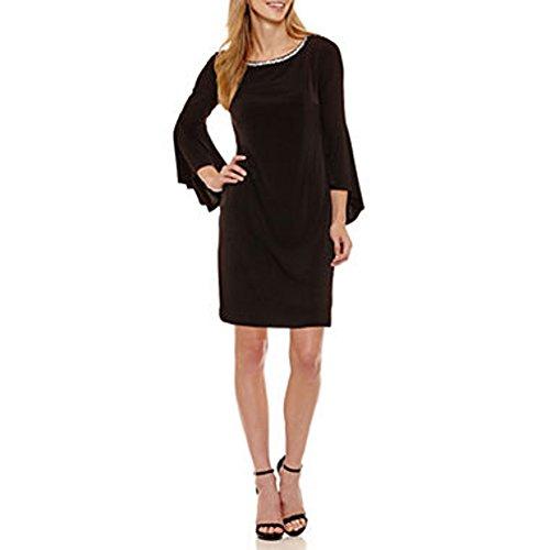 Jessica Howard Black Bell Sleeve Shift Dress with Beaded Rhinestone Neckline (12P)
