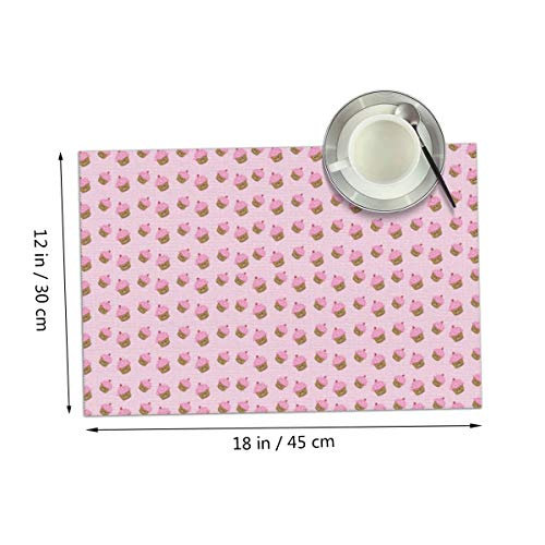 Carmen Belinda Pink Cupcakes Placemats Set of 4 for Dining Table Washable Place Mats for Kitchen/Dinning Table, Home Table Decor Non-Slip Heat Resistant, 12x18 Inches ()