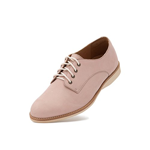 Rollie Women's Derby Snow Pink, Light Pink Leather Oxfords Pink Flat Shoes for Women with Laces, Size 8 US / 39 EU