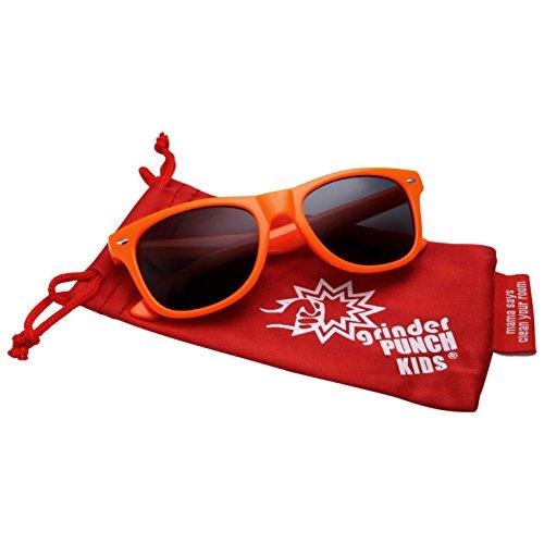 GrinderPUNCH Kids Child Colorful Wayfarer Style Sunglasses UV400 Orange