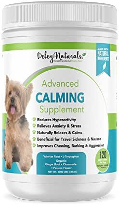 Daily Anxiety Support for Dogs - Separation Anxiety for Dogs, Travel, Groomers, Fireworks & Barking - Valerian Root and L-Tryptophan - Made in USA, All Natural, Grain Free - 120 Chicken Soft Chews