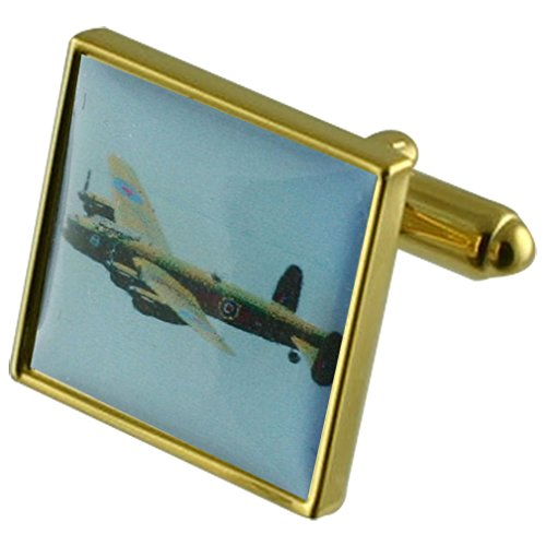 - Select Gifts Bomber RAF Lancaster Gold-tone Square Cufflinks with Pouch
