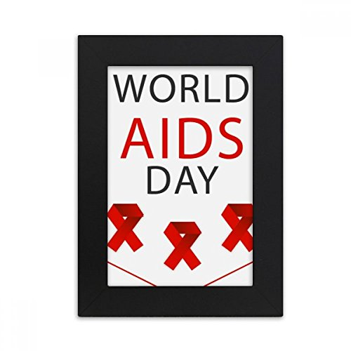 DIYthinker AIDS Day Red Ribbon HIV Awareness Desktop Photo Frame Picture Black Art Painting 5x7 inch