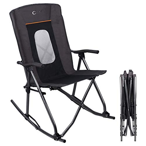 PORTAL Oversized Quad Folding Camping Rocking Chair High Back Hard Armrest Carry Bag Included, Support 300 lbs, Black