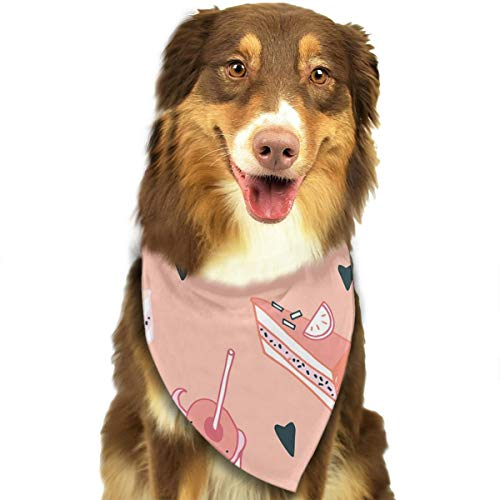 HGFR Pink Afternoon Tea Customized Dog Headscarf Bright Coloured Scarfs Cute Triangle Bibs Accessories for Pet Dogs