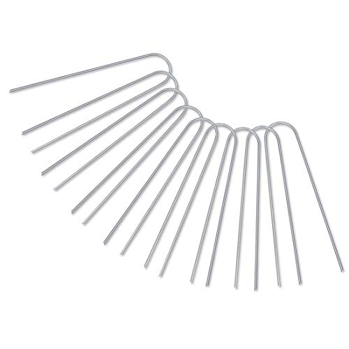 GROWNEER 500-Pack 6 Inches Heavy Duty 12 Gauge Galvanized Steel Garden Stakes Staples Securing Pegs for Securing Weed Fabric Landscape Fabric Netting Ground Sheets and Fleece