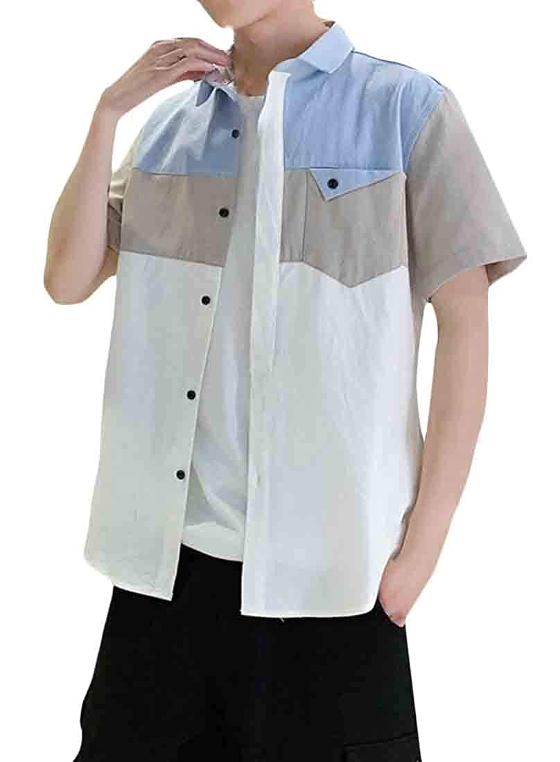 pipigo Mens Vintage Curved Hem Lapel Neck Contrast Color Pocket Button Down Shirts