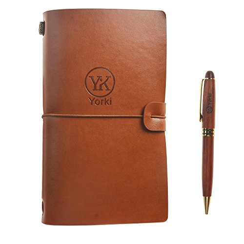 Yorki Handmade PU Leather Refillable Travelers Notebook with Rosewood Pen Set Journal Writing Diary Notepad (#2)
