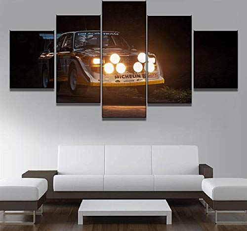 (Dskjn 5 Piece HD Print Painting Race Car Driver Landscape Canvas Wall Art Home Decor for Living Room Unique Gift Wall Picture-Framed)