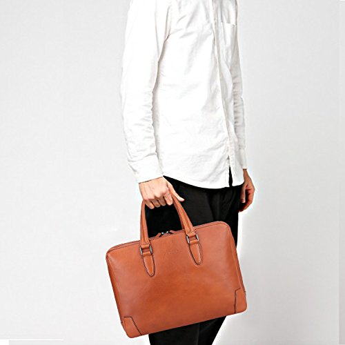 """Banuce Italian Leather Briefcase for Men and Women Business Travel Work Tote Bag Attach Case U-zip 14"""" Laptop Organizer by Banuce (Image #6)"""