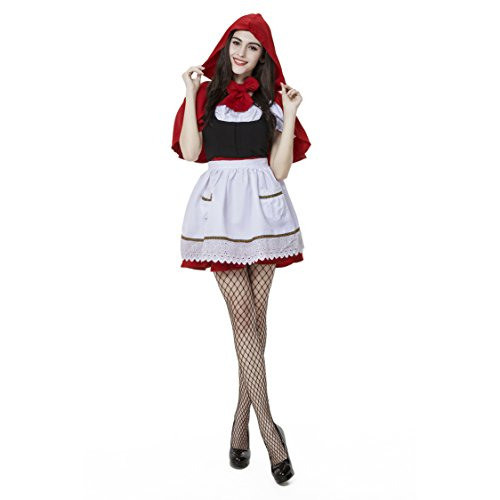 [Oxfox Halloween Costume Little Red Riding Hood Fancy Dress Masquerade Party Outfit Ladies Women XL] (Halloween Little Dead Riding Hood Costume)