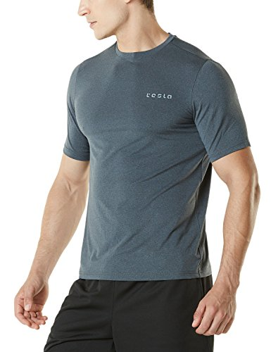 TM-MTS04-CHC_X-Large Tesla Men's HyperDri Short Sleeve T-Shirt Athletic Cool Running Top MTS04