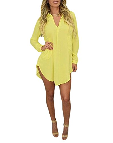 Solido Scollo Coolred Chiffon T Gialla donne Manica Irregolare Vestito Lunga V A shirt OqOH0a