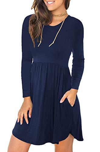 LONGYUAN Women's Casual Loose Plain Dresses Short Dress X-Large, Navy