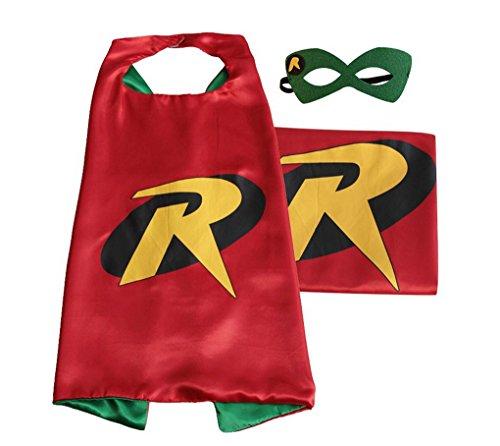 [Rush Dance Deluxe Comics Satin Unisex Super Hero CAPE & Matching MASK (Red & Green (Robin))] (Batman And Robin Movie Costumes)